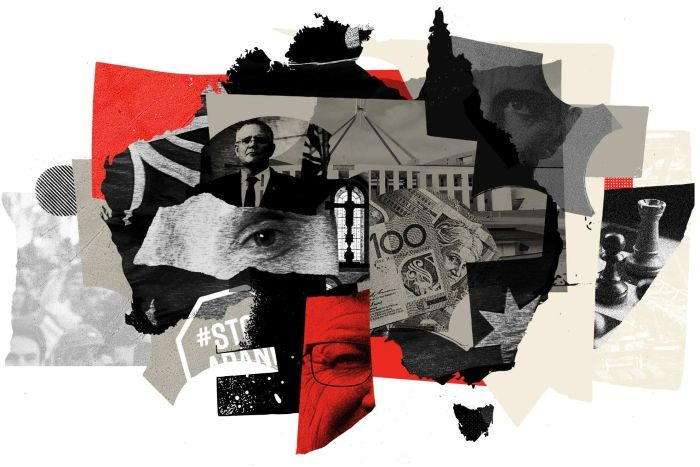 An artwork of Australia featuring Prime Minister Scott Morrison and images of parliament, bank notes and a chess piece.