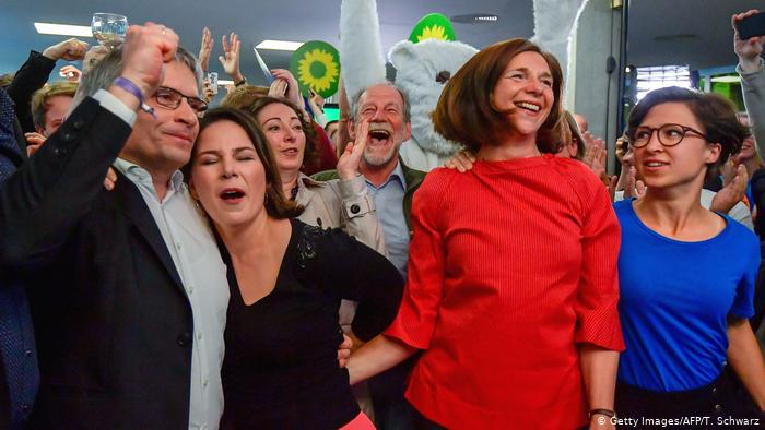 Germany's Green party celebrate in Berlin as results are announced. (Getty Images/AFP/T. Schwarz)