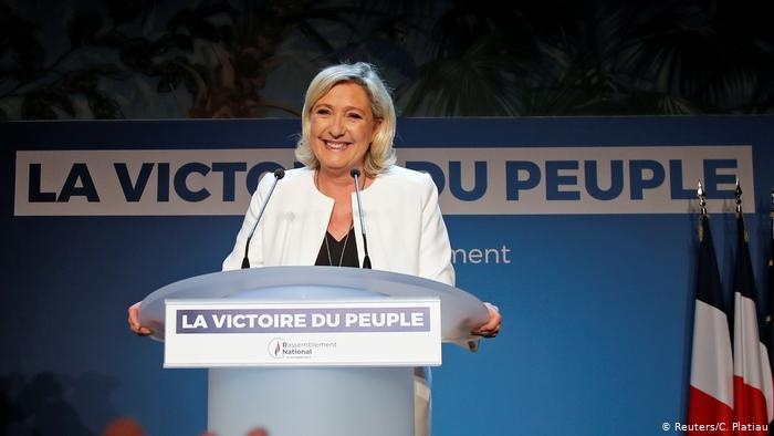 French far-right National Rally (Rassemblement National) party leader Marine Le Pen reacts after the first results in Paris, France, May 26, 2019. (Reuters/C. Platiau)