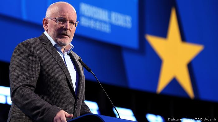 Frans Timmermans makes a speech as early results are announced. Brussels, May 26, 2019. (picture-alliance/AA/D. Aydemir)